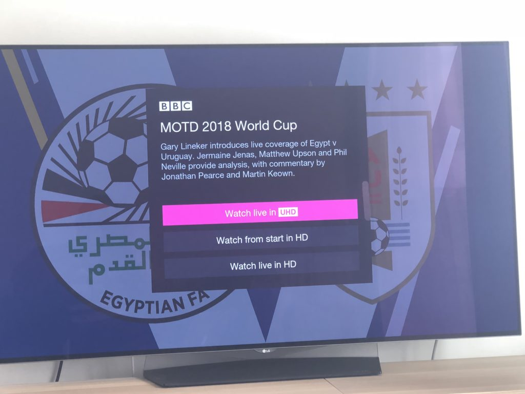 BBC iPlayer UHD viewing options